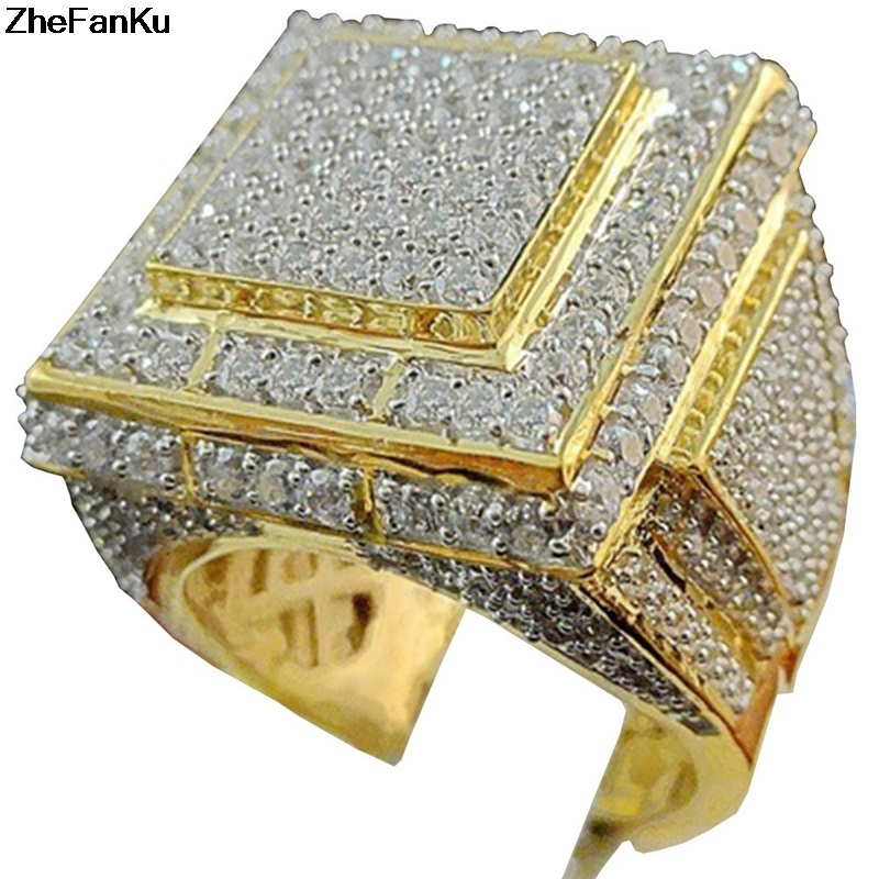 Big Fashion Rings With Stones Engagement Wedding Ring For Men Jewelry Vintage Gold Mens Signet Rings Gifts