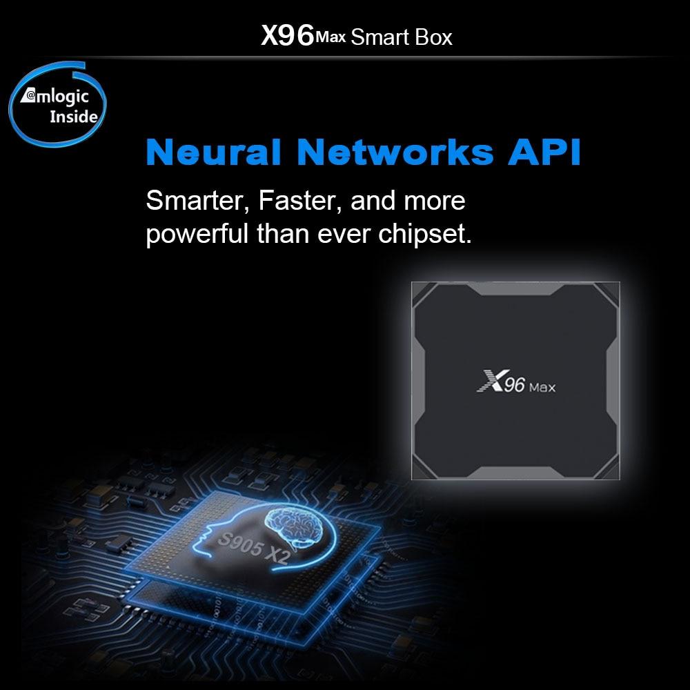 Prévente X96 MAX Android 8.1 Amlogic S905X2 4GB64GB TV BOX 2.4G & 5G Wifi 1000 M H.265 4 K lecteur multimédia Smart Box PK X96mini
