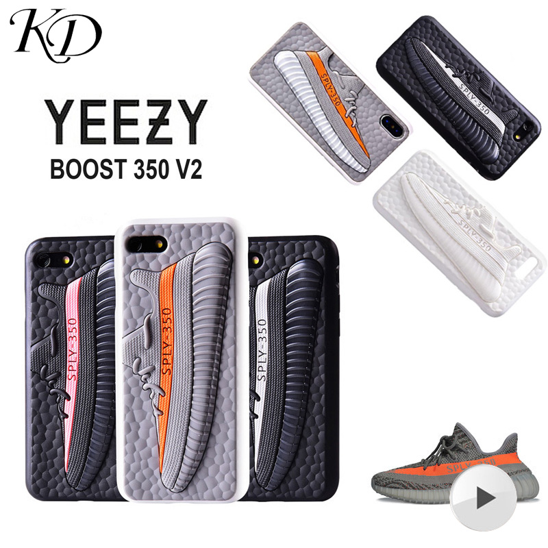 Apparel - Tide Brand off Sport 3D White Yeezy 350 Boost Sneaker Shoes Silica gel Phone Case for iPhone 7 8 Plus X 10 XS XR MAX Cover Coque