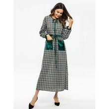 Yfashion Women Retro Plaid Printing Tight Waist Lacing Slim Muslim Long Dress with Pockets