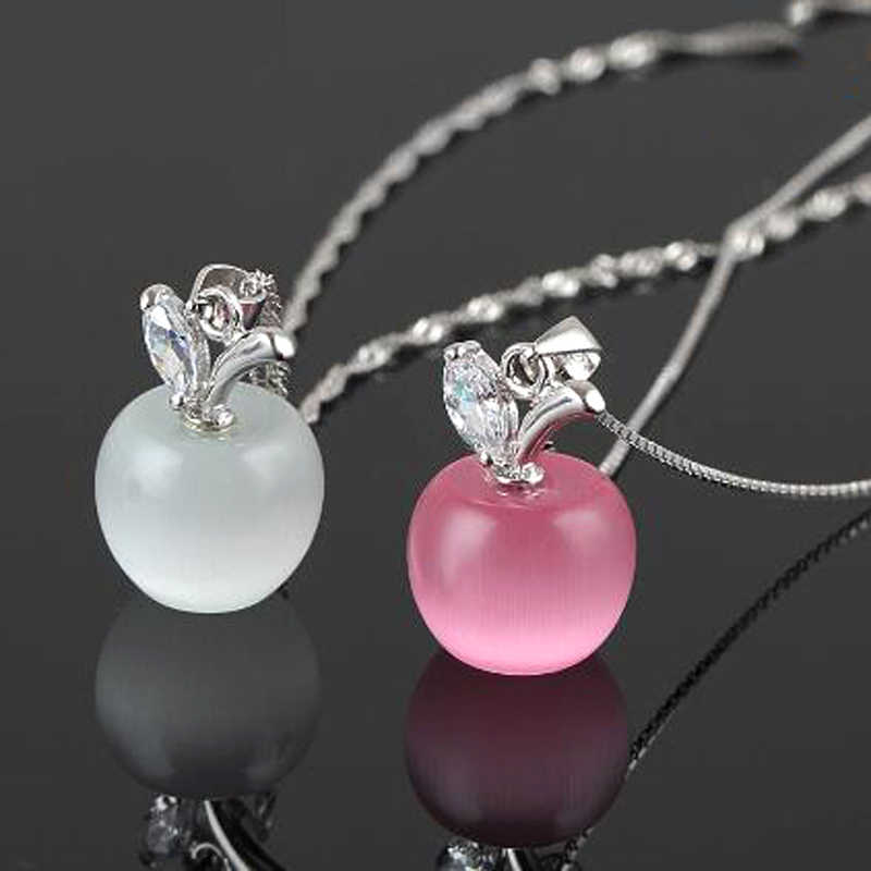 Korean Fashion Apple Crystal Necklace Women Girls Cute Opal Pendant Necklaces Silver Link Chain Jewelry Collier Female Gift