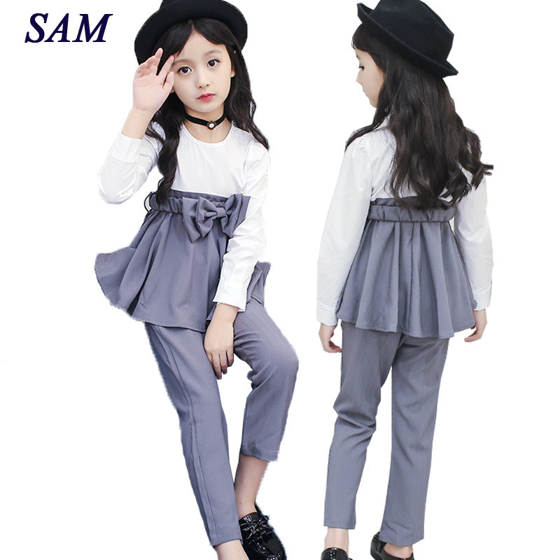 Big Girls Clothes Sets 2018 Fall Korean Bow Tie Long-sleeved T-shirt+ Suit Pants 2pcs Thin Set Teens Kids Clothing Suit girls set 2018 new summer children clothing sets teens kids clothes lace short sleeved t shirt long skirts 2pcs sets cc717