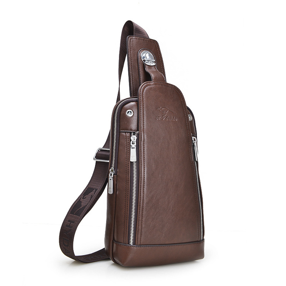 ФОТО 2017 Fashion trends Men Leather chest bags Crossbody Single Shoulder Strap Back Pack Man Messenger Bag Casual Travel Chest Bag