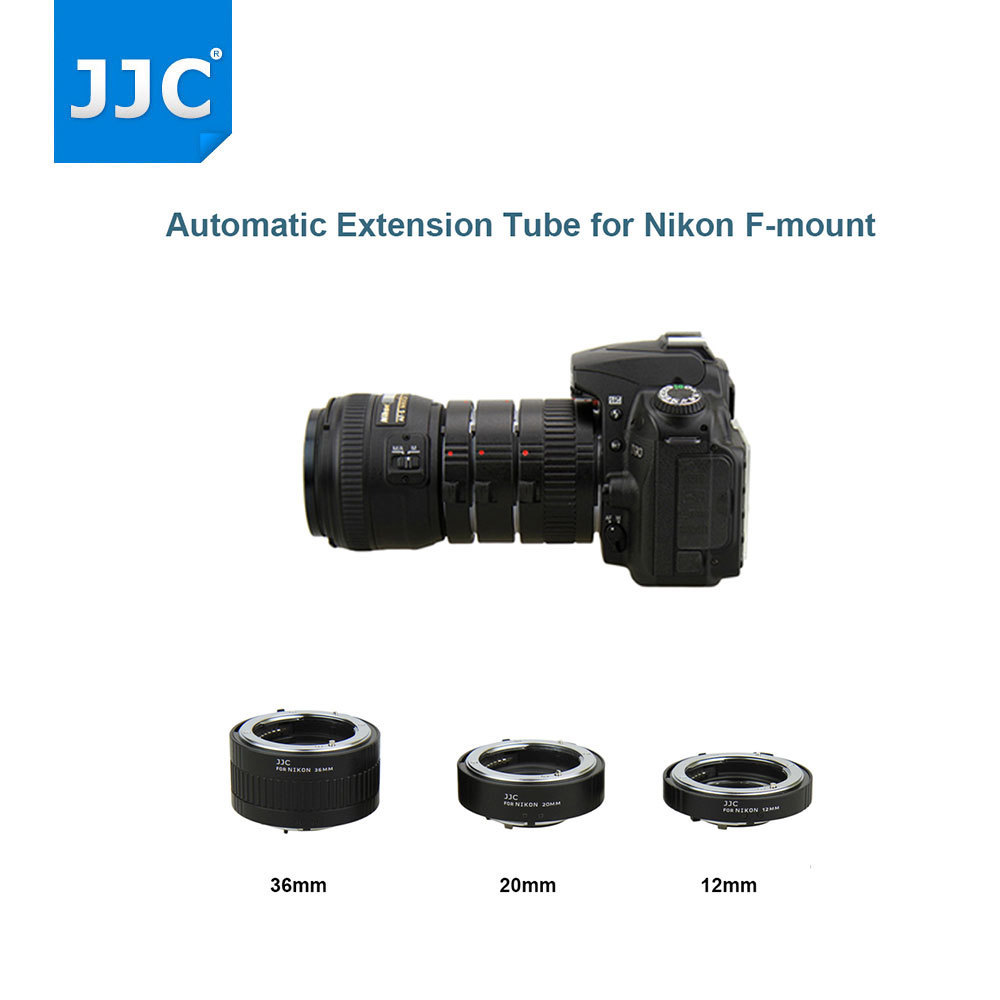 JJC Automatic Extension Lens Adapter 12mm/20mm/36mm Metal Auto Focus Lens Adapter Tube Macro Ring for Nikon F-mount Camera