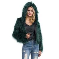 New Women Pink Fluffy Faux Fur Coat Winter Warm Hairy Fur Hooded Jacket Outwear Plus Size Elegant Ladies Coats Overcoat