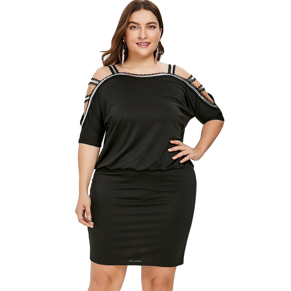 US $15.15 |New Arrival Women Dress BLACK Plus Size Cold Shoulder Blouson  Dress Elegant Summer Half Sleeves Women\'s Summer Dress HOT Selling-in  Dresses ...
