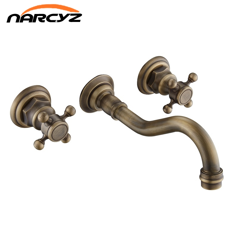 Wholesale and Retail Antique Brass Bathtub Mixer Taps 3 pcs Basin Dual Handles Hot and Cold Wall Mounted Basin Faucet XR-GZ-8208