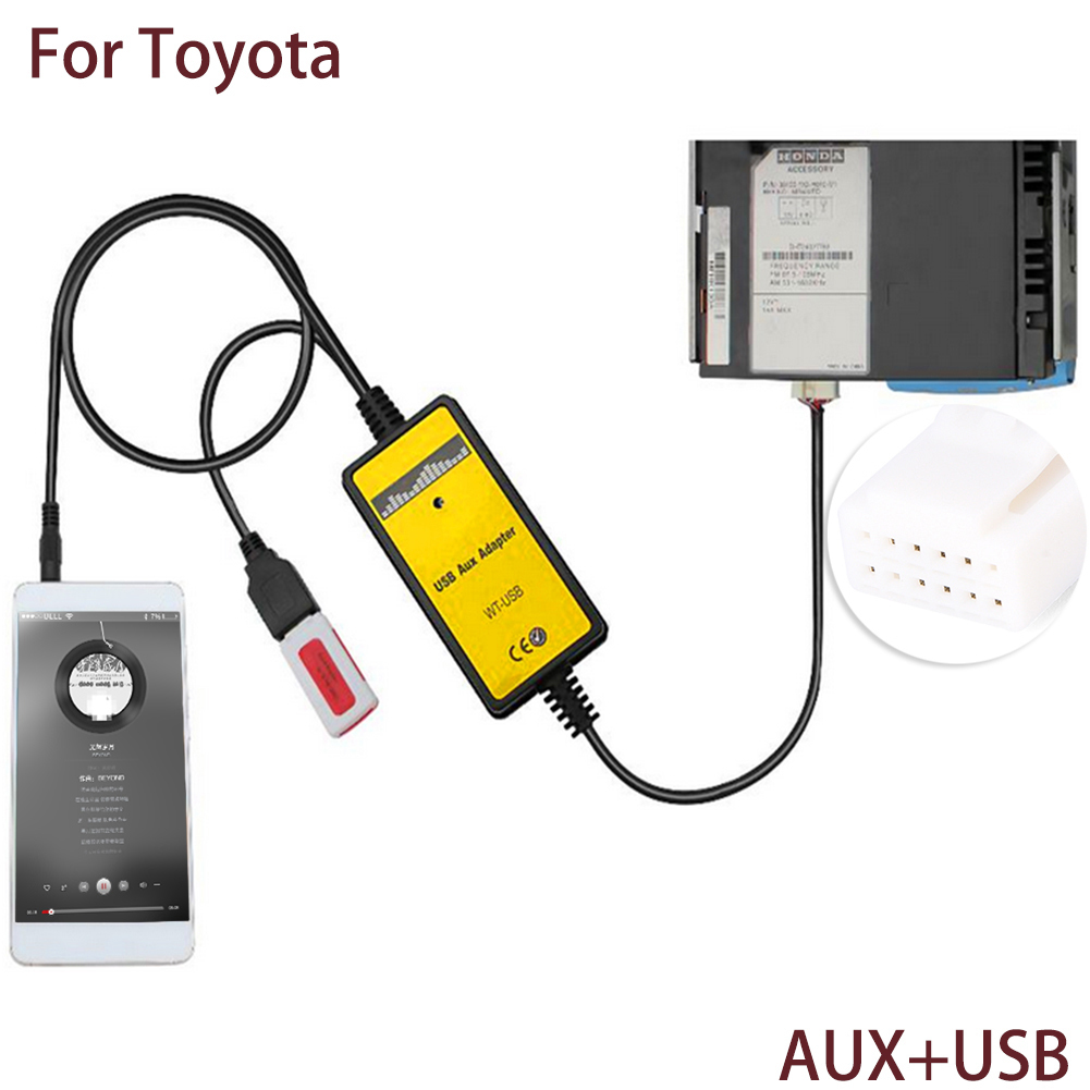 Auto Car USB Aux in Cable Adapter 2*6Pin Audio aux Plug MP3 Player Radio Interface For Toyota Camry Corolla for most Vehicles