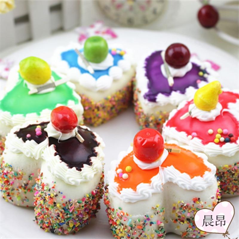 6pcs/lot Home Artificial fake food Decor lifelike gift model cake colorful fruits top grade beads sweet Education natural teach