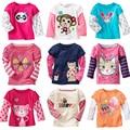Hot Sale Fashion Kid Girl Tees Cotton Cartoon Baby Girl Shirt O-neck Baby Long Sleeve Top Kids Ruffles Blouse Camisa Infantil