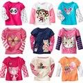 Venda quente Da Moda T-shirt de Algodão Dos Desenhos Animados Do Bebê Da Menina Do Miúdo Da Menina camisa Do Bebê O-pescoço Blusa Camisa de Manga Longa Top Crianças Babados Infantil