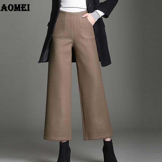 b7da3b789a9 Mid Waist Wide Leg Pants for Women Black Wool Loose Fit Trousers Winter  Office Ladies Pants Plus Size 4XL Workwear Casual Pants