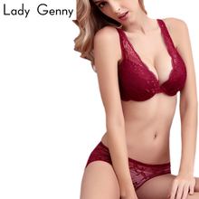 Bra sets Sexy Women Embroidery Lace Crochet Bra Female Back Closure Lingerie Underwire Push-Up Padded Bras black wine red pink