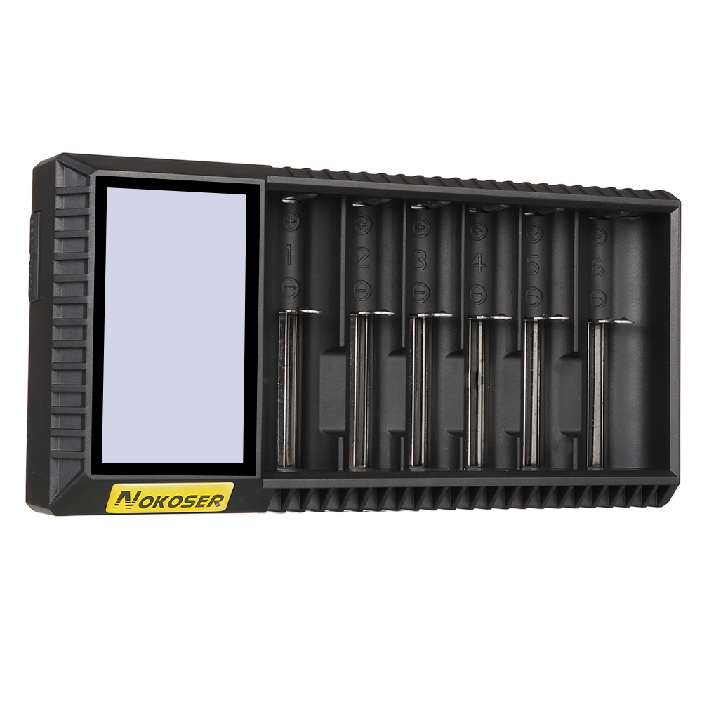 6Slot LCD Intelligent Ni-MH//Li-ion Battery Charger for 1.2V nickel-metal hydride