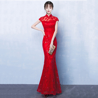 Chinese Traditional Mandarin Collar Cheongsam Elegant Red Lace Bride Party Dress Classic Lady Qipao Noble Female Evening Gowns
