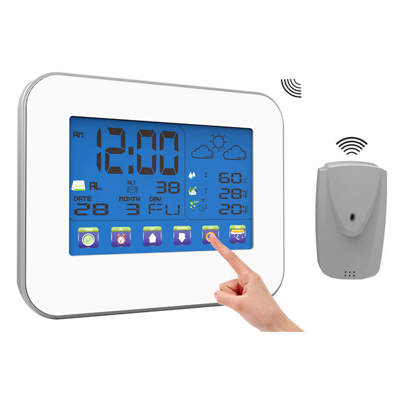 Wireless Weather Station Touch Key Button LCD Indoor Outdoor Thermometer Hygrometer Timer Alarm Clock Temperature Humidity Meter digital indoor air quality carbon dioxide meter temperature rh humidity twa stel display 99 points made in taiwan co2 monitor