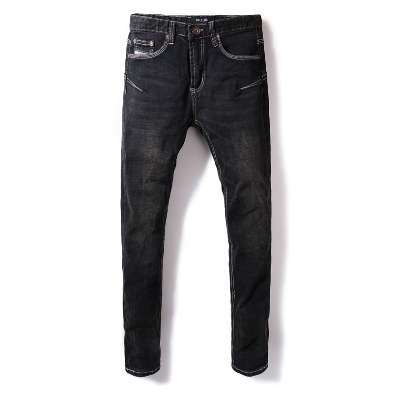 European American Street Style Fashion Men Jeans Brand Skinny Fit Elastic Classical Jeans Pencil Pants Hip Hop Style Black Jeans