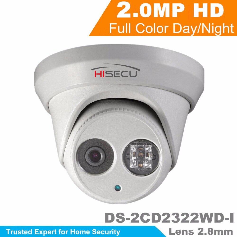Wholesale English Version IP Camera DS-2CD2322WD-I 2MP 1080p mini dome Network IP Camera IR POE cctv camera 2.8mm