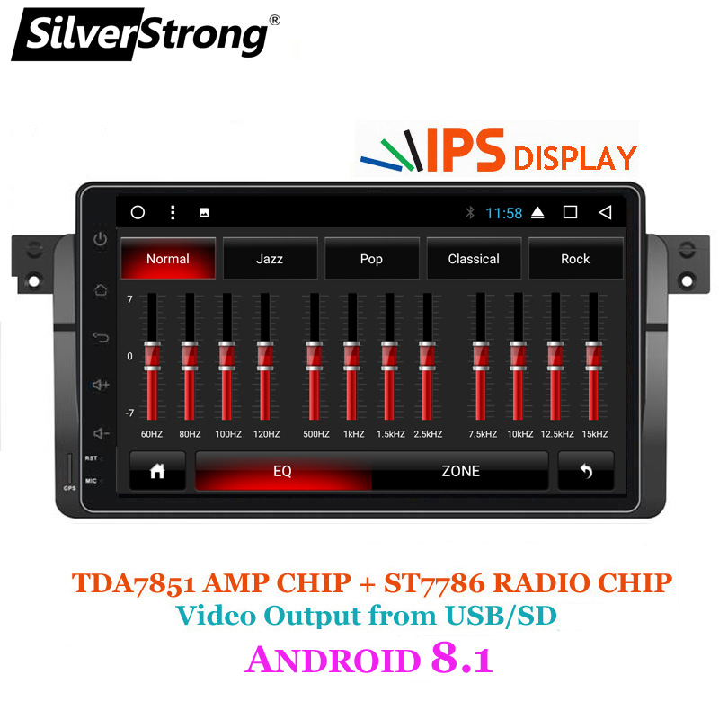 SilverStrong Android 8.1 Voiture DVD GPS Radio magnétophone stéréo Pour BMW E46 318 320 3 Série dvd lecteur récepteur navigation