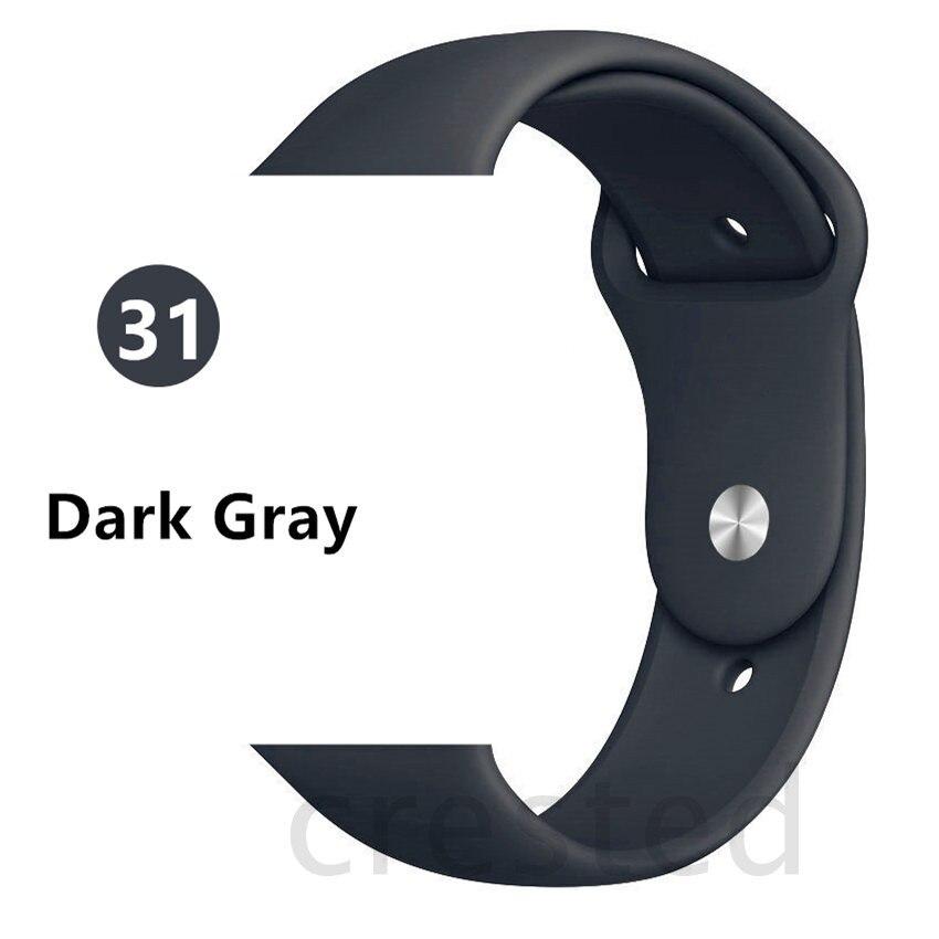 Силиконовый ремешок для apple watch 4 5 44 мм/40 мм спортивный ремешки для apple watch 3 42 мм/38 мм резиновый ремень браслет ремешок для часов apple watch Band Мягкий красочный ремешок iwatch series 4 3 2 1 - Цвет ремешка: Gray