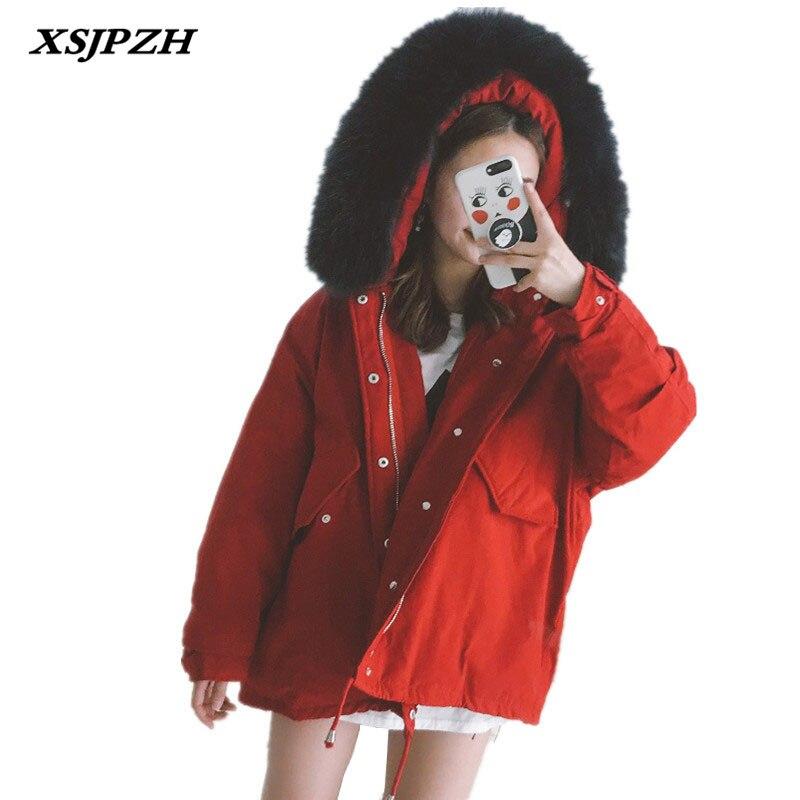 XSJPZH 2018 осень зима Новый Для женщин пуховик свободные Короткое пальто большой меховой воротник Толстые мода косу волосы Верхняя одежда SH09