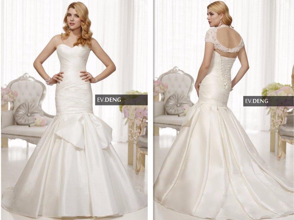 Robes de mariée à lacets bow robe de mariée vestido de noiva casamento sexy dos nu robe de mariée sirène avec veste 2016 offre spéciale