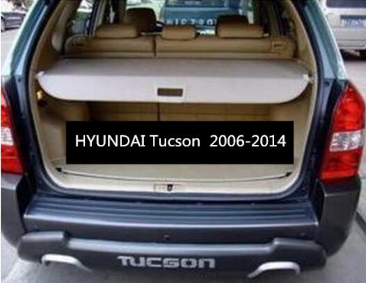 Car Rear Trunk Security Shield Shade Cargo Cover For HYUNDAI Tucson 2006 2007 2008 2009 2010 2011 2012 2013 2014 (Black beige) car rear trunk security shield shade cargo cover for mitsubishi outlander 2007 2008 2009 2010 2011 2012 black beige
