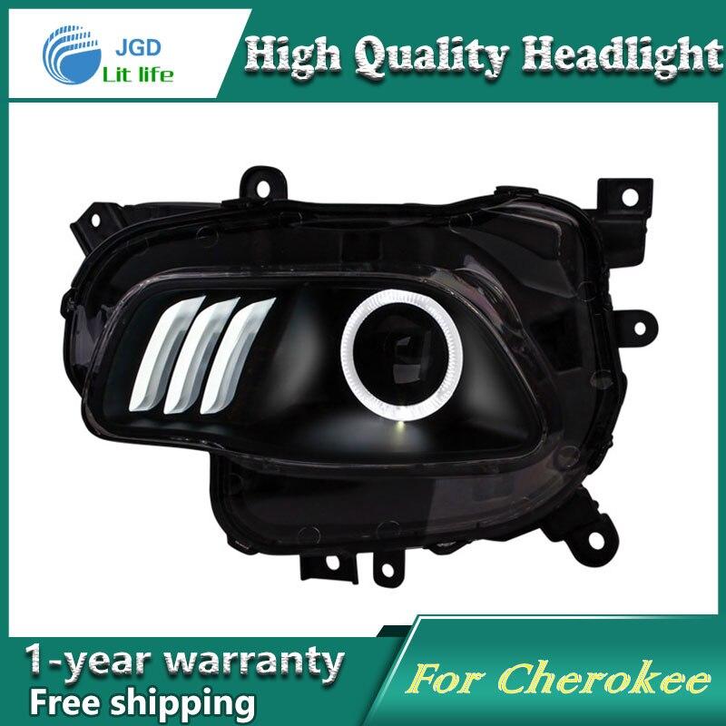 Глава стайлинга автомобилей чехол лампа для джип Чероки фары светодиодные фары DRL объектива с двойным Луч Би-Ксеноновые аксессуары