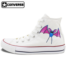 Pokemon Zubat Boy Girl Converse All Star Bat Design Hand Painted Shoes Man Woman Sneakers Skateboarding Shoes Birthday Gifts