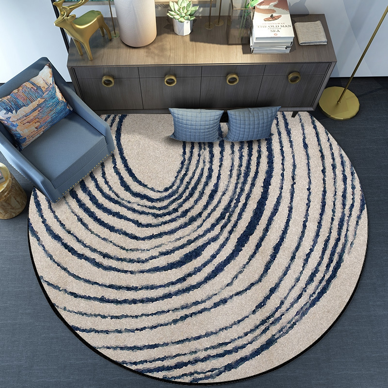 Living Room Large Carpet Creative Blue Circle Round Carpets And Rugs Nordic Style Home Decor Anti-Slip Floor Mat Foot Pad Tapete