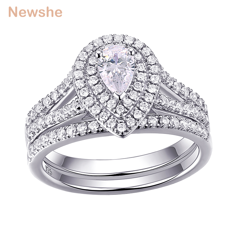Newshe 2Pcs Wedding Ring Set Classic Jewelry Pear Shape 1.2 Carats AAA CZ 925 Sterling Silver Engagement Rings For Women 1R0004 newshe pear shape blue side stones aaa cz solid 925 sterling silver wedding ring set engagement band fashion jewelry for women
