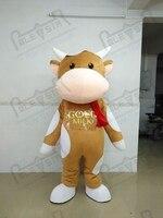 Высокого качества мягкие коровьего молока маскарадный костюм мультфильм коричневый мультфильм крупного рогатого скота костюмы