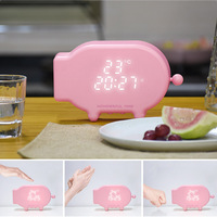 Multifunction Cartoon Pig Alarm Clock Temperature Lamp Function USB Charge Clock for Bedroom MDJ998