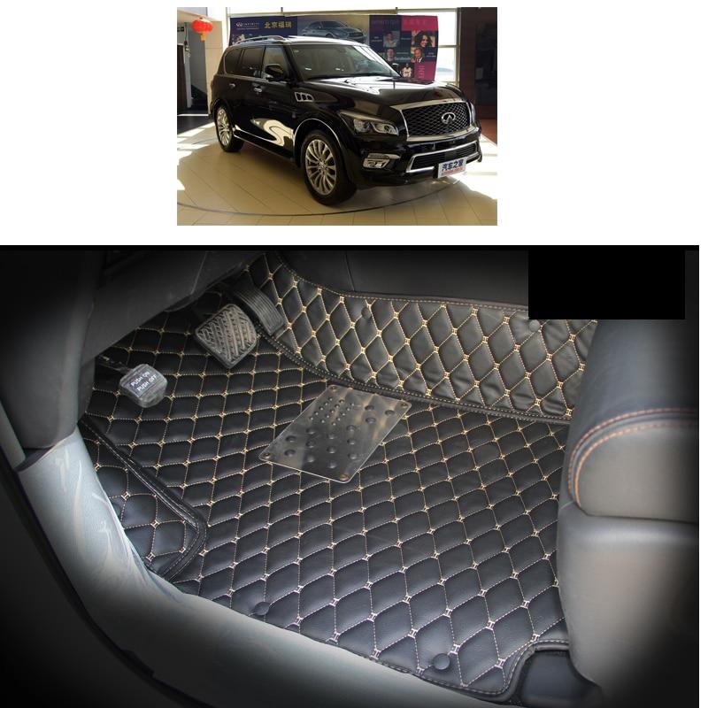 lsrtw2017 fiber leather car interior floor mat and trunk mat for infiniti qx80 qx56 Nissan Patrol armade Y62 2010 2018
