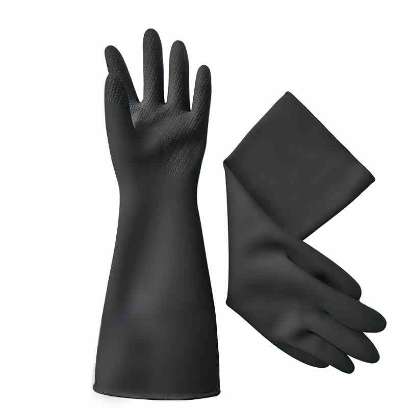 1 Pair 50cm Long Rubber Gloves Black Acid Alkali Resistant Gloves Corrosion-Resistant Thicker For Chemical,Oil,Paint,Maintenance anti acid and alkali chemical corrosion fisheries agriculture latex rubber gloves labor supplies black