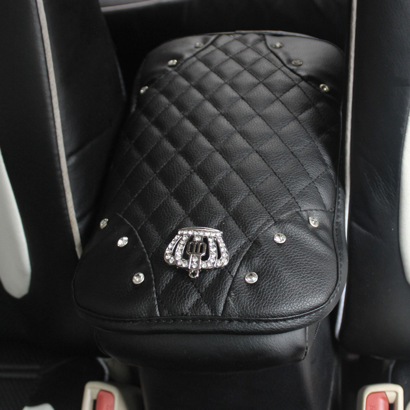Crown-with-Crystal-Rhinestone-Car-Armrests-Cover-Pad-PU-Leather-Vehicle-Center-Console-Arm-Rest-Box