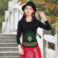 Autumn Spring Vintage Stand Collar Animal Peacock Embroidery T Shirt White Red Black Cotton Shirt Plus Size Top