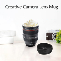 24 105mm Camera Lens Coffee Mug New Brand Creative Multipurpose 400ml Thermos Silicone Stainless Steel Travel Tea Cup With Lid