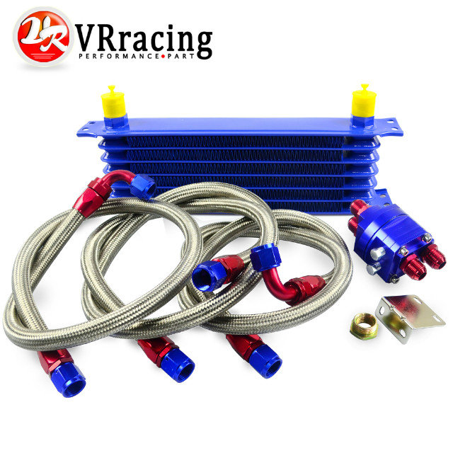 ФОТО VR RACING- Universal OIL COOLER 7Row 10AN Aluminum Engine Transmission Oil Cooler Relocation Kit VR5107B+6724BR+3PCS