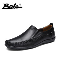 BOLE Big Size 36 47 High Quality Genuine Leather Men Shoes Soft Moccasins Loafers Superstar Fashion