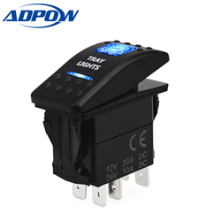 ADPOW 5pin Car Boat Truck Lighted Toggle Switch Panel 12v ON-OFF Waterproof 12V 24V Car Boat Rocker Car Switch