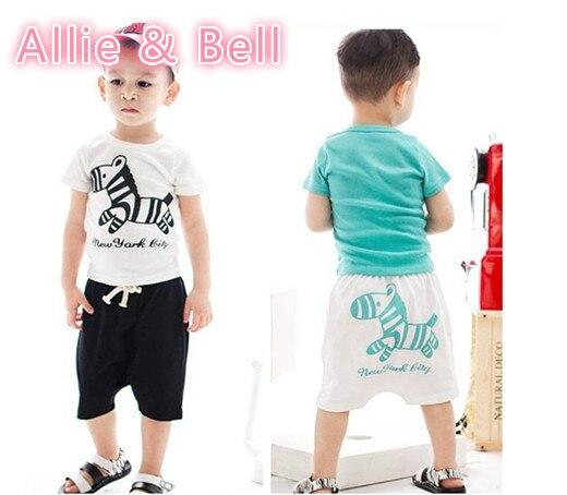 Kinder Kleidung Set Kinder T-shirt + Hosen Jungen Baby Kurzarm Shirt + Pant Baby-kleidung Gesetzten Kleinhandel 3-7Yrs Freies verschiffen