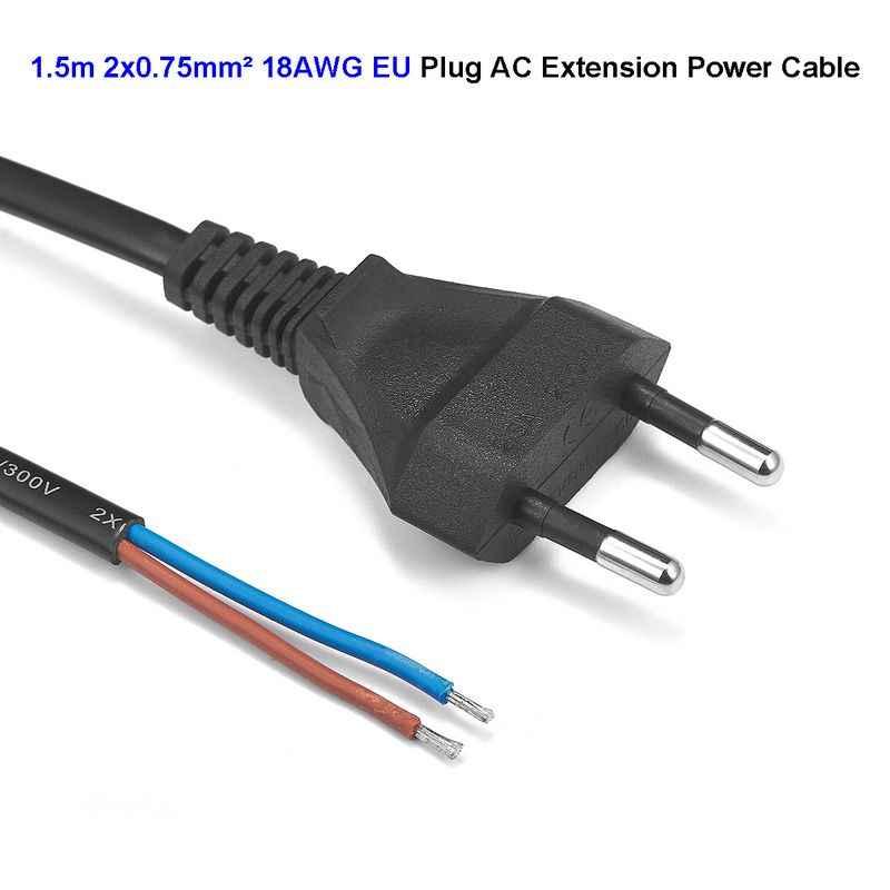 ЕС AC Кабель питания 1,5 м 3 м 18AWG Электрический медный провод евро вилка шнур питания для удлинительной розетки наружные лампы светодиодный светильник