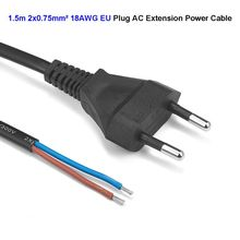 EU Euro AC Power Cable 1.5m 3m 18AWG 0.75mm 2 Pin Supply Extension Cord For Electrical Sockets Outdoor LED Lamp Bulb Light