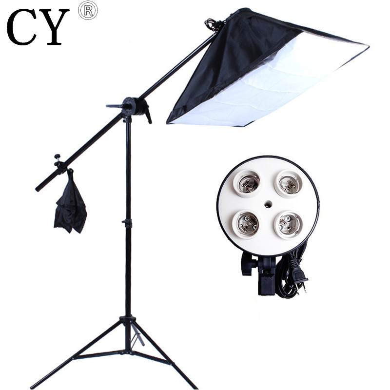 Photo Studio Video Lighting Kit Light Stand + SoftBox with 4 x E27 lamp holder+ Photo Studio Boom Arm 75-135cm Hairlight psba1e softbox studio lighting softbox light lambed 80cm cotans round cotans photographic equipment 4 flock printing background cd50