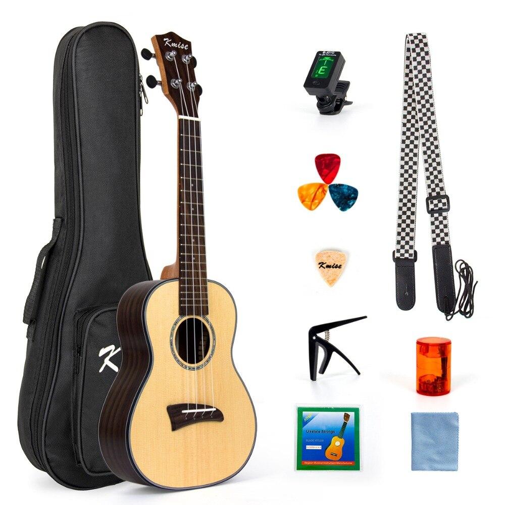 Kmise Solid Spruce Concert Ukulele Kit Ukelele Uke Hawaii Guitar 23 Inch 18 Fret With Rosewood