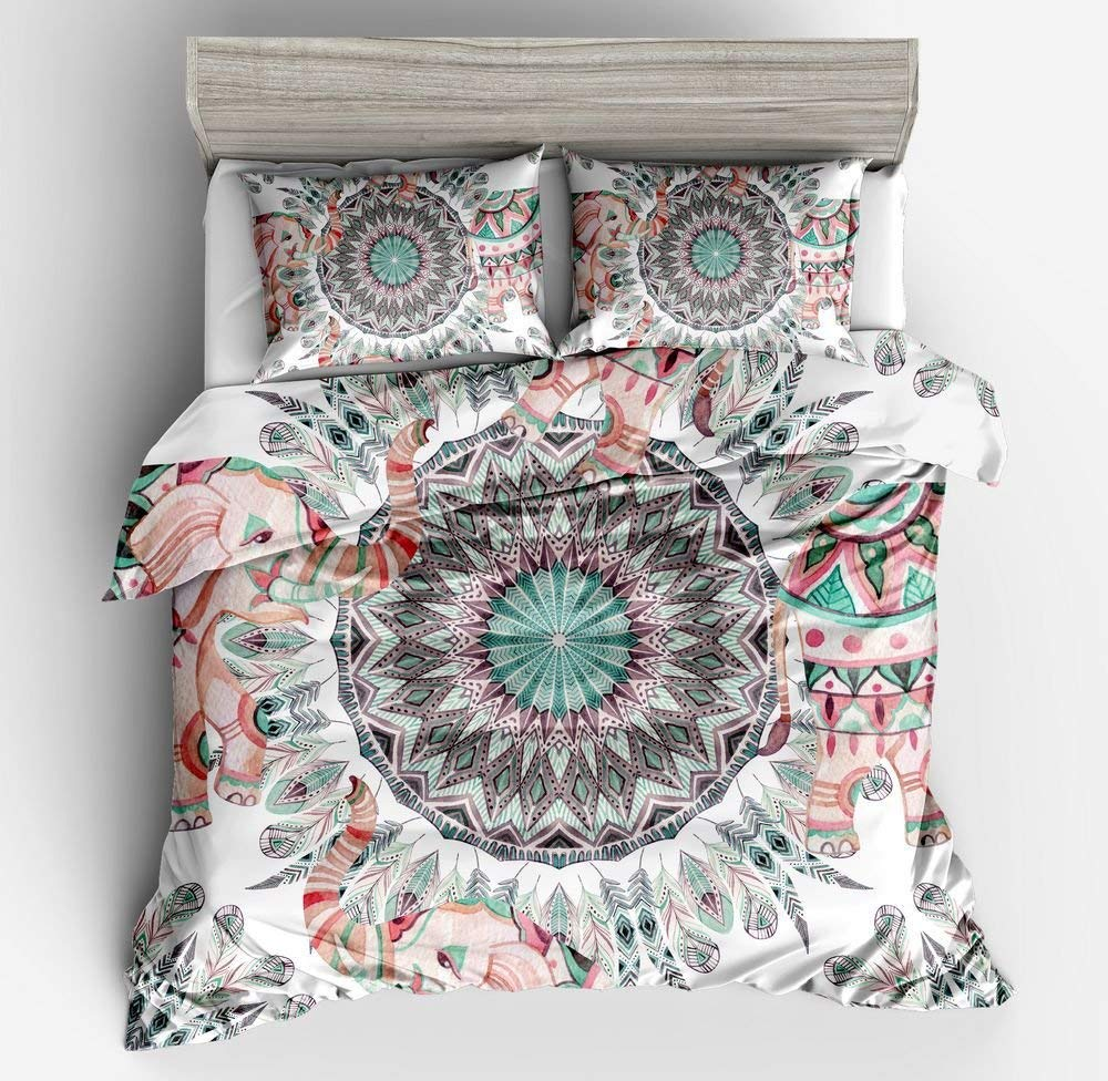 High Quality Luxury Bohemia Mandala Printing Bed Set Queen 12size Bedlinen Bedclothes Bedding Set Datura Elephant Flower Textile Solar