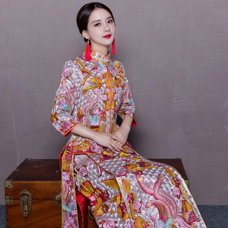 Broderie robe de mariage de Dragon chinois style costume Phoenix cheongsam robe de soirée spectacle vêtements slim Style pour le Mariage