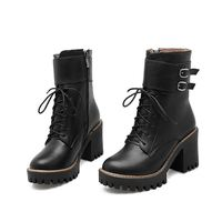 MORAZORA Fashion boots women 2018 Autumn winter buckle ladies shoes high heels round toe platform lace up ankle boots for women 1