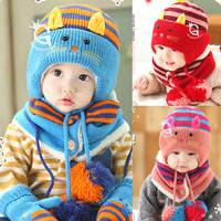 Baby Winter Hats Photography Tools Cartoon Cat Baby Boy Girl Striped Woolen Hats Newborn Bear Baby
